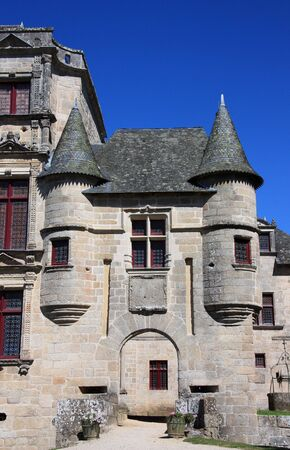 state owned: The entrance to the state owned Chateau de Sedieres, Correze, France which is now used as a public venue for cultural events