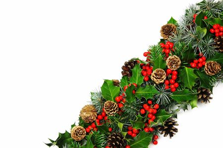 tradional: A tradional Christmas holly band  of natural holly, cypress, pine and cones on a white background with very soft natural shadow. Stock Photo