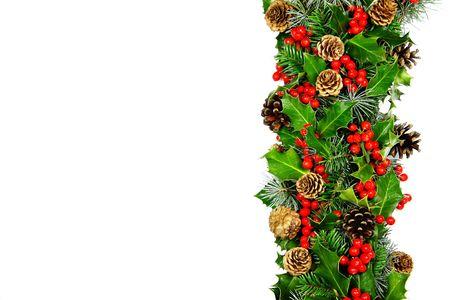 Christmas holly border horizontal Stock fotó