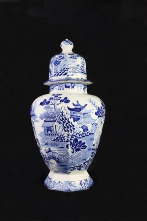 An antique blue and white ironstone pottery urn, circa 1850.  Stock Photo