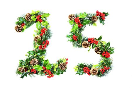 Christmas Day numerals 25 in natural holly, cones and cypresses photographed over white photo