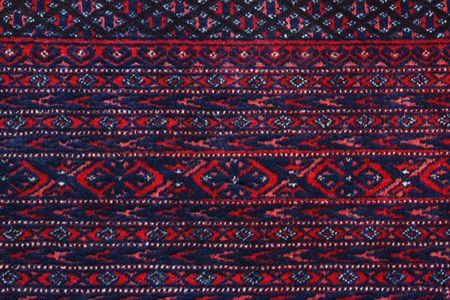 knotting: Close up detail of the border of a Turkoman Persian carpet showing the knotting, pile and guard stripes.