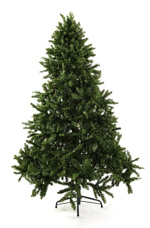 A undecorated green artificial Christmas tree photographed over white with soft shadow at the base ready to be decorated.