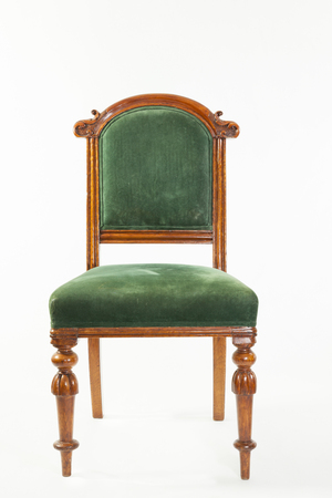 antique chair: Antique upholstered Victorian nineteenth century fruitwood library chair on a white background