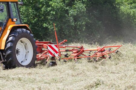 fodder: Raking dried grass with a rotary hay rake preparing it for baling for winter fodder, close up view of the rake