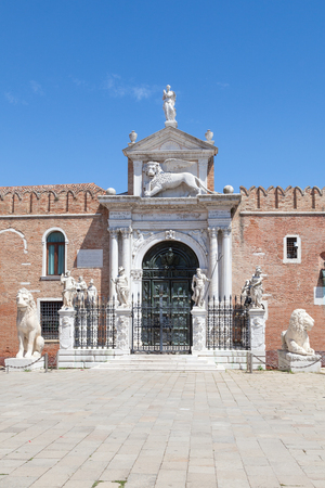 Terrestrial entrance to the Arsenale, Venice, Italy with eight allegorical statues  on pedestals. This  was a vast ancient shipyard and munitions arsenal employing thousands of people
