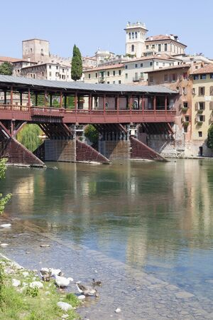 Ponte Vecchio or Ponte degli Alpini  on the Brenta River designed by Palladio in 1569  Bassano del Grappa, Veneto, Italy and rebuilt several times due to floods  to the original design