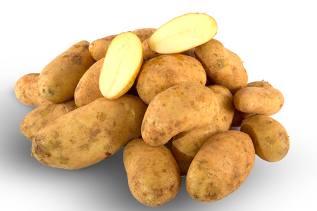 unwashed: Pile of fresh unwashed whole potatoes isolated on white