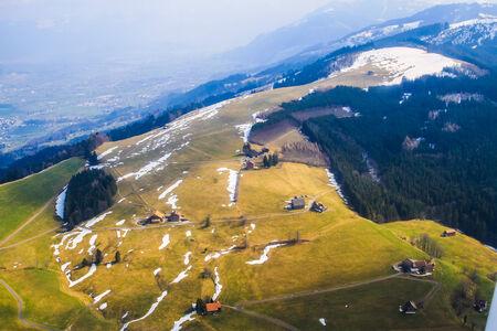 icecaps: Unique and magnificent airplane aerial view of Rigi ski resort in Switzerland.