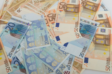 20 euro: EU banknotes in bills of 50 and 20 euro. Stock Photo