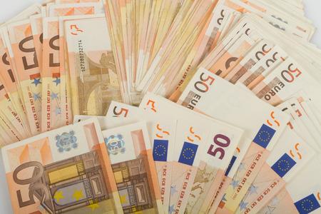 50 euro: EU banknotes in bills of 50 euro.