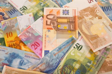 swiss franc note: Swiss francs and Euro banknotes variety