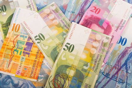 swiss franc note: Swiss banknotes of 10, 20, 50, and 100 CHF bills