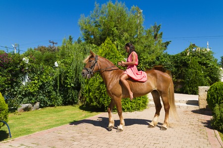 horse blonde: Beautiful young barefoot modern brunette amazon with red dress, on a slender brown-blond purebred horse without a saddle.