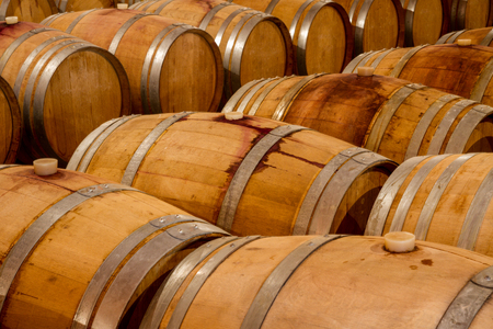 aging: Fermentation and aging of selected wine varieties in oak wine barrels in a winery cellar. Stock Photo