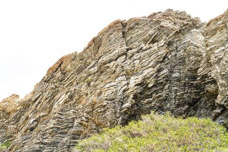 ductile: Layered rock formation folds on the Mediterranean island Crete, Greece Stock Photo