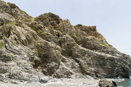 platy: Layered rock formation folds on the Mediterranean island Crete, Greece Stock Photo