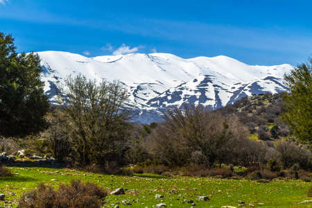 Hiking and trekking adventure landscape Psiloritis Ida mountains range wonderland destination in Crete, Greece