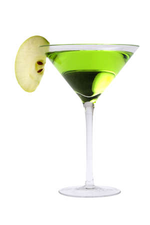 alcoholic drink: Apple Martini or Appletini mixed drink on white background Stock Photo