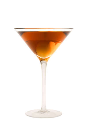 sweet vermouth: Rob Roy or Manahattan mixed drink with marachino cherry on white background Stock Photo