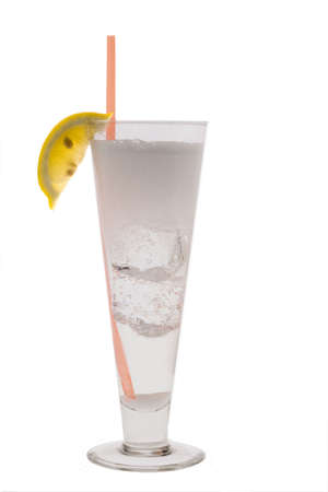 Vodka Seven mixed drink with lemon slice garnish on white background Stock Photo - 6345523