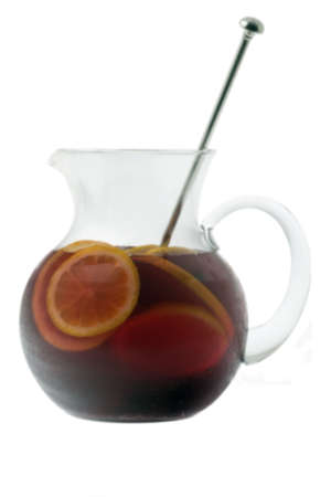 Red Wine Sangria in pitcher  on white background