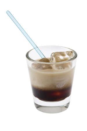 white russian: White Russian mixed drink on white background