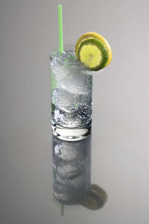 Vodka or Gin & Tonic mixed drink with lemon and lime slice garnish on grey background with reflection 版權商用圖片