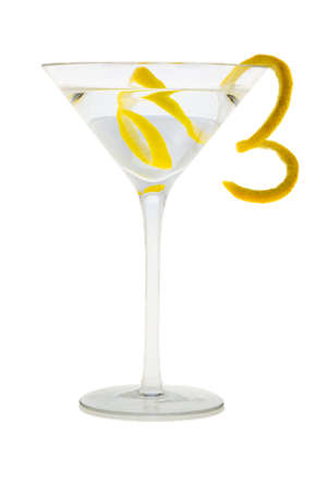 vodka: Martini mixed drink with lemon peel garnish on a white background
