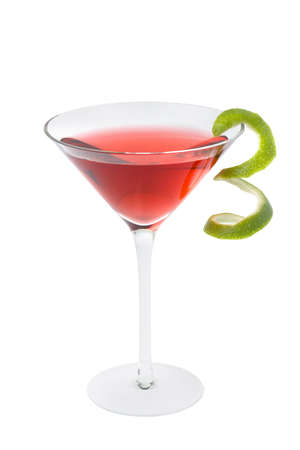 Cosmopolitan mixed drink with lime twist on a white background photo