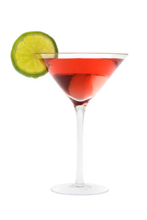 Cosmopolitan mixed drink with lime slice on a white background Stock Photo - 6390278