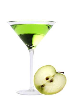 Apple Martini or Appletini mixed drink on white background photo