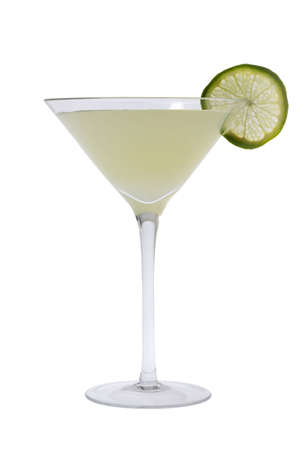 gimlet: Gimlit mixed drink with lime slice on a white background