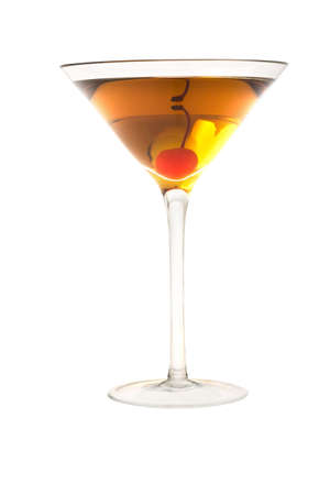 sweet vermouth: Rob Roy or Manahattan mixed drink with marachino cherry close up on white background Stock Photo