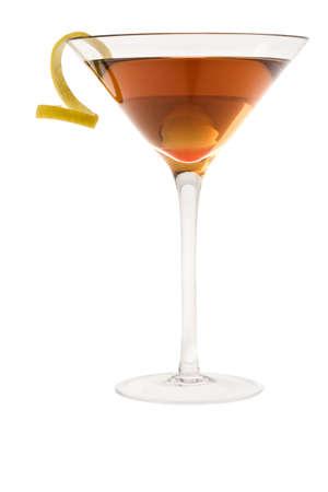 sidecar: Dry Manhattan Cocktail with lemon peel on white background