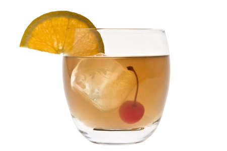 Whiskey Sour mixed drink with cherry and orange slice on white background