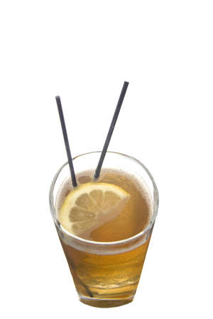 Long Island Ice Tea mixed drink with lemon slice on white background Фото со стока