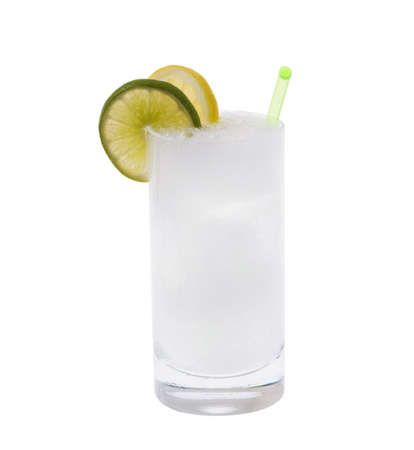 Vodka or Gin &amp, Tonic mixed drink with lemonline slice garnish on white background
