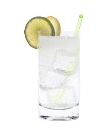 Vodka or Gin & Tonic mixed drink with lemon/line slice garnish on white background 版權商用圖片