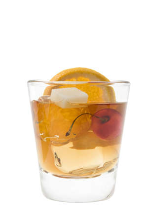 Old fashioned mixed drink on a white background photo