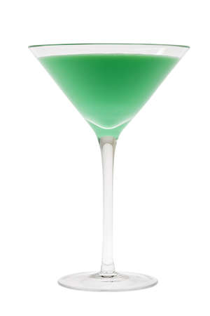 alcoholic drink: Grasshopper mixed drink on white background