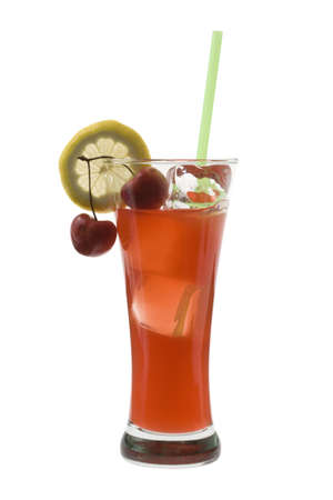 Zombie mixed drink with cherry and lemon garnish on white background