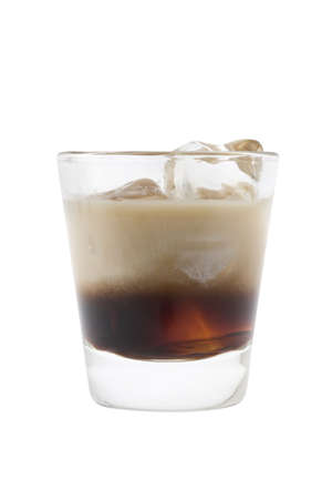 White Russian mixed drink on white background