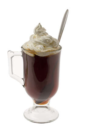 alcoholic drink: Irish Coffee mixed drink on white background