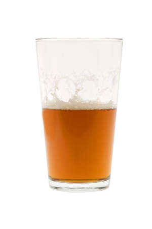 pint: Pint of beer, ale, lager  on white background half empty