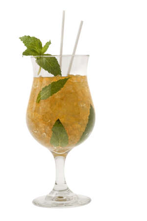 Mint Julep mixed drink on white background