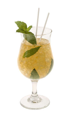 cool mint: Mint Julep mixed drink on white background