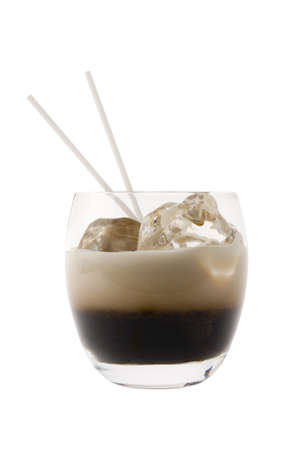 white russian: White Russian mixed drink on white bakground