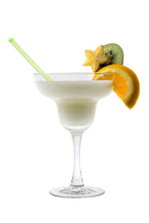alcoholic drink: Pina Colada mixed drink with exotic fruit garnish on white background Stock Photo