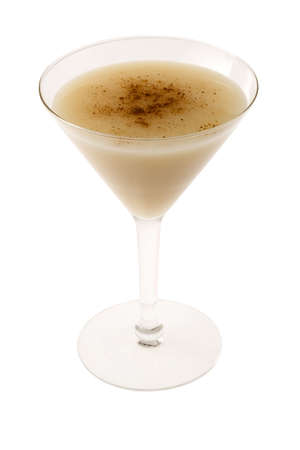 brandy: Brandy Alexander cocktail with nutmeg on white background